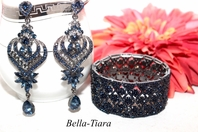 Maia - Alluring sapphire navy blue chandelier earrings and bracelet set