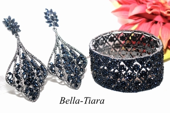 Maia - Gorgeous navy prom jewelry, navy blue crystal earrings and bracelet set