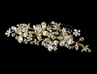 Marcy - Dazzling gold plated crystal bridal comb - SALE!!