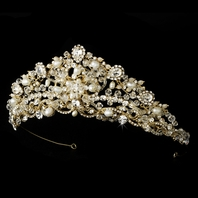 Mariaangela - Gorgeous pearl crystal gold wedding tiara
