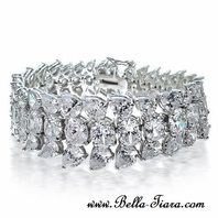 Marisa - Stunning high end Cubic Zirconia wide wedding bracelet - SALE