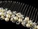 Marisabella - Champagne Pearl Crystal wedding comb - SALE