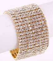 Marsha - Alluring Gold wide Stretch Rhinestone Bracelet - SALE!!