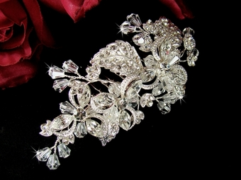 Mary -GORGEOUS Intricate Floral Crystal Bridal Comb -SALE!!
