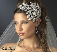 Maxima - Vintage Couture Leaves Side Accented Crystal Bridal Headband - Sale