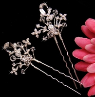 Melody-CZ and Swarovski Crystal Bridal Hairpins (set of 2) - SALE!!