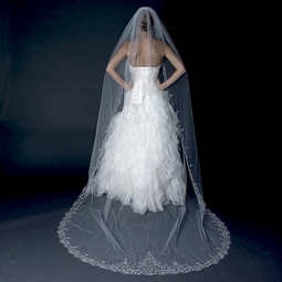 Mia - Luxurious Collection - Beaded edge cathedral wedding veil