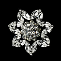 Michelle - Stunning Antique Silver Clear Brooch