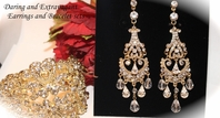 Mila - STUNNING gold chandelier earrings and bracelet set