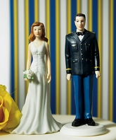 Military Couple Army Dress Uniform Wedding Cake topper Figurine