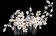 Monica- Off white freshwater pearl crystal bridal comb - SALE!!