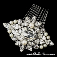 NEW!! Antique Silver Swarovski Freshwater Pearl Cheryl King wedding comb replica- SALE