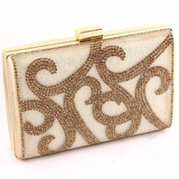 NEW Beautiful gold ivory rhinestone clutch evening bridal purse - SALE b4d4c6caf90eb
