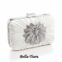 NEW!! Bejeweled Ivory Satin Bridal Evening Bag