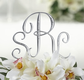 New! Elegant 3pc Silver Finish Monogram with Rhinestones Cake Topper