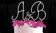 New!! Initial Set Full Crystal Monogram Cake Topper