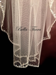 New!! Stunning beaded crystal edge wedding veil - sale