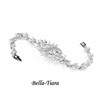 NEW! Stunning CZ Cluster Silver Bracelet with Dainty Marquis Stones