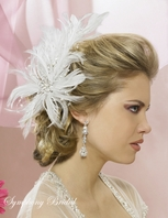 NEW!! STUNNING feather crystal bridal hair flower - SALE!!!