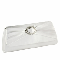 Noelle Beautiful Rhinestone Center White Or Ivory Wedding Purse