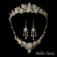 NORLA - Stunning wedding gold tiara crown and necklace set
