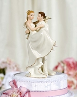 Off-White Porcelain Groom Holding Bride Wedding Cake Topper Figurine