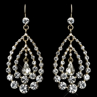 Oretta - Dazzling gold rhinestone earrings - sale