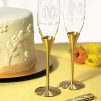 Venice Gold Champagne Flutes & Cake Server Set