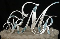 Partial Crystal Clusters Monogram Cake Topper-<i>Custom Fonts