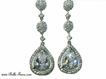 Patricia - Royal Collection - High end elegant CZ wedding earrings - SALE