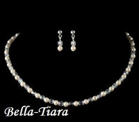 Pearl and Crystal communion Bead Necklace & Earring Set - SALE