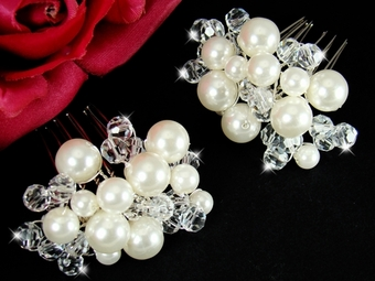 Pearl Crystal Cluster Bridal Hair Comb - white or ivory (Set of 2)