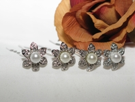 Pearl - Fabulous Pearl Center Wedding Hair Pins (set of 6) - SPECIAL
