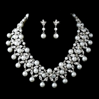 Perlaluna - STUNNING statement pearl and crystal wedding necklace set -SALE