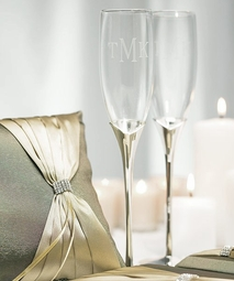 Personalized Silver Plated Tulip Stem Goblets - GREAT PRICE