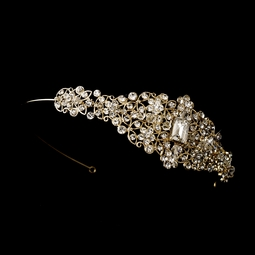 Phoebe - Beautiful vintage filigree crystal gold wedding headband - SALE