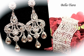 Prima - Luxurious Collection - Royal chandelier earrings and bracelet set - SALE
