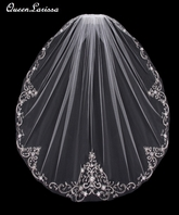 QueenLarissa- Beautiful beaded embroidered edge wedding veil - EnVogue- SALE
