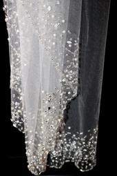 Royal Collection - Alexa - beaded edge cathedral wedding veil - sale