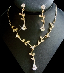 Rachel - Delicate Gold Vine Necklace Set