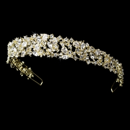 RADIANCE- GORGEOUS crystal bold light gold bridal headband tiara - sale