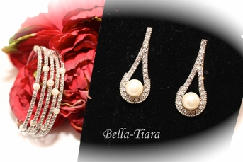 Rafael- Classic elegance pearl drop earrings and cuff bracelet - SPECIAL