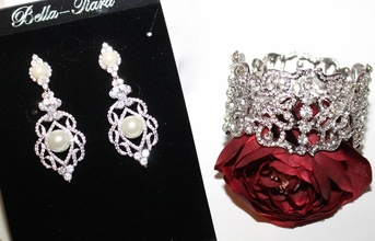 Ramona - Vintage CZ drop wedding earrings and cuff bracelet set - SPECIAL
