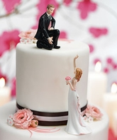 Reaching Bride and Helpful Groom Cake Topper