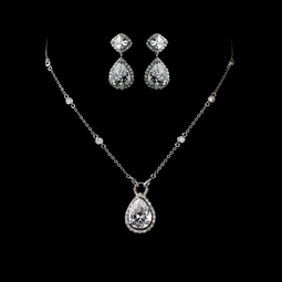 Reginella - Elegant CZ drop bridal necklace set  - SALE!!