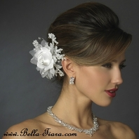 Romantic - Rhinestone, Crystal, Lace, Satin & Organza Flower Bridal Hair Clip - SALE