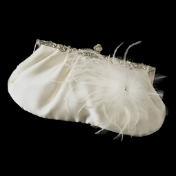 Rhinestone Vintage Frame Ivory Satin Feather wedding purse - SALE