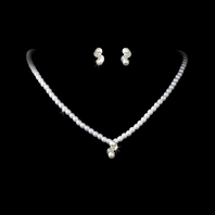 Romance - Beautiful pearl and rhinestone necklace set