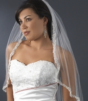 ROMANTIC beaded lace edge bridal veil - SALE