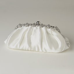 Romantic creamy satin rhinestone purse - SALE